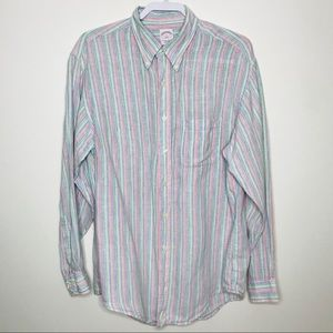 Brooks Brothers Linen Striped Button Down